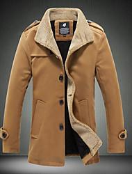 Men's Long Sleeve Plus Size Regular Tweed Pure Trench Coat