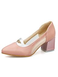 Zapatos de mujer Semicuero Tacón Robusto Puntiagudos Pumps/Tacones Vestido Negro/Rosa/Blanco