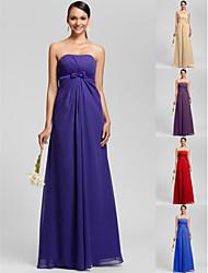 Floor-length Chiffon Bridesmaid Dress - Regency / Royal Blue / Ruby / Champagne / Grape Plus Sizes / Petite Sheath/Column Strapless