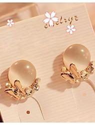 Korean Ribbon Opal Earrings Casual Platinum Plated/Gemstone & Crystal Stud Earrings Hot Sale 2015