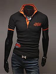 T-Shirts ( Acrílico/Algodão Organico ) MEN - Casual Colarinho de Camisa - Manga Curta