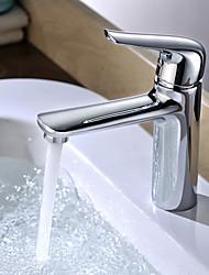 bagno della maniglia del miscelatore del bacino rubinetto lavabo singolo caldo e freddo ottone cromato contemporaneo