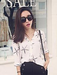 De las mujeres Camiseta Escote Chino - Otro - Manga Corta