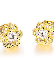 Earring Stud Earrings Jewelry Women Birthstones Wedding / Party / Daily / Casual Zircon 1set Gold