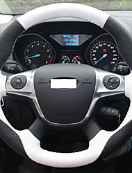 XuJi ™ White Black Genuine Leather Steering Wheel Cover for Ford Focus 3 2012-2014 KUGA Escape 2013-2015