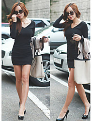 Women's V-Neck Dresses , Others Sexy/Beach/Casual/Cute/Party Long Sleeve Cathy