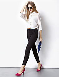New 2015 Women's Black Pants Long Slim Fit Casual Small Leg Opening Trouser Commuter OL career harem knit pants