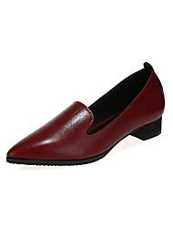 Scarpe Donna Finta pelle Quadrato A punta/Chiusa Scarpe col tacco Casual Nero/Bianco/Borgogna
