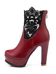 Women's Shoes Lace Chunky Heel Fashion Boots/Round Toe Boots Dress/Casual Black/Red/White