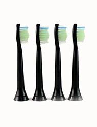 4pcs un ensemble générique remplacement sonic électriques têtes de brosse à dents de hx6064 à poils doux (noir) pour philips