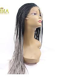 ombre grauen Flechten Haar synthetische Spitzefrontseitenperücke natürlichen schwarz / grau geflochtenen Perücken für afrikanisch