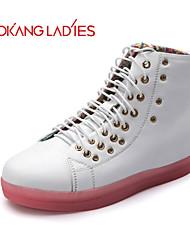 Calçados Femininos Couro Rasteiro Conforto/Arrendondado/Bico Fechado Tênis Social/Sapatos para Esportes Ar-Livre/Casual/Para Esporte