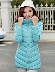 Women's High Collar Hoodie Slim Thin Long Sleeve Down Coat , Casual/Cute/Work Cotton/Polyester/Feather