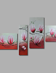 Hand-Painted Oil Painting on Canvas Wall Art Abstract Flowers Pink Magnolia Four Panel Ready to Hang