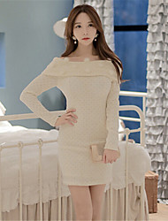 Women's Solid Color White Dresses , Casual Round Long Sleeve