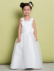 A-line Floor-length Flower Girl Dress - Organza Sleeveless Straps with Flower(s) / Side Draping