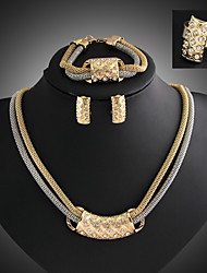 Lucky Doll Women's Vintage 18K Gold Plated Zirconia Geometric Necklace & Earrings & Bracelet & Ring Jewelry Sets