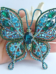 3.74 Inch Gold-tone Turquoise Green Rhinestone Crystal Butterfly Brooch Pendant Art Decorations