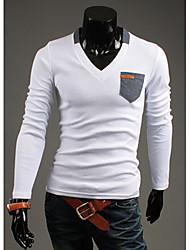 Logir Men's V-Neck T-Shirts , Cotton Blend Long Sleeve Casual/Work Fashion Fall Logir