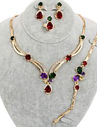 westernrain strass papillon ensemble de bijoux plaqué or des femmes