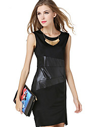 Dominic Women's Solid Color Black Dresses , Bodycon / Casual Round Sleeveless