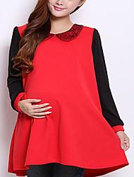 Vestido de maternidad Mini Raso - Cuello Camisero Manga Larga
