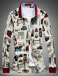 Men's Fashion Retro Print Linen Slim Long-Sleeve Shirt