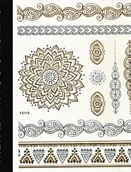 New Brand India Metallic Flash Tatoo Temporary Sticker Sexy Tattoo Body Art\Flower vs Bracelets\Fashion Fake Tattoo
