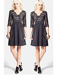 Women's V-Neck Dresses , Lace Sexy/Beach/Casual/Cute/Party ¾ Sleeve Cathy