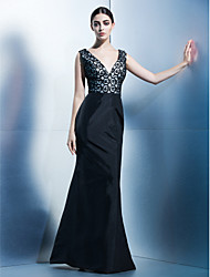 Dress - Black Trumpet/Mermaid V-neck Floor-length Taffeta