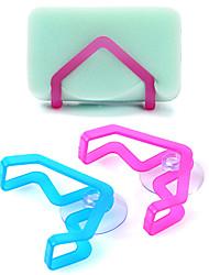évier baignoire éponge crémaillère avec support ventouse plat de stockage de tissu (couleur aléatoire)