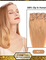 "18 ""7pcs strawberry blonde (# 27) klem in remy human hair extensions"