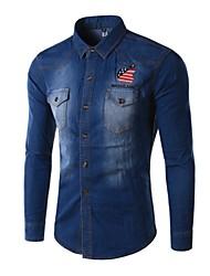 Men's Long Sleeve Top , Cotton/Denim Casual/Work