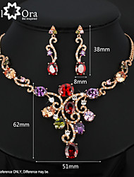 Luxurious Multicolor Crystal 18K Gold Plated Jewelry Sets For Women Lady Fashion Party Accessories