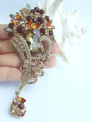 4.72 Inch Gold-tone Topaz Rhinestone Crystal Flower Brooch Pendant Art Decorations
