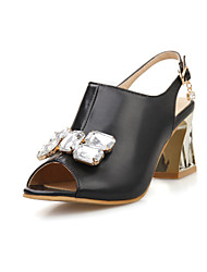 Women's Shoes Chunky Heel Peep Toe Sling Back Rhinestone Sandals More Color Available
