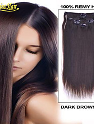 100% menselijk clip-on hair 100g indische remy straight hair clip-in hair extensions lang 14-34inch dhl snelle verzending