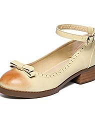 Zapatos de mujer Cuero Tacón Bajo Comfort/Punta Redonda Planos Vestido/Fiesta y Noche Gris/Beige