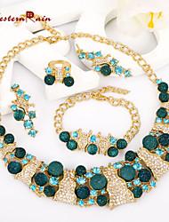 WesternRain  New Style Candy imitation Women Jewelry Green Crystal 18k Gold Plated Sweet Big Wedding Fashion Jewelry Set