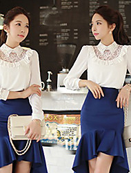 Women's Shirt Collar Lace/Ruffle Tops & Blouses , Polyester Lace/Work Long Sleeve DABUWAWA