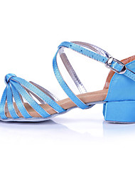 Non Customizable Women's/Kids' Dance Shoes Latin Flocking Chunky Heel Blue