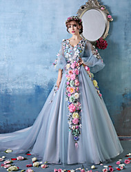 Ball Gown Princess V-neck Cathedral Train Tulle Charmeuse Formal Evening Dress with Flower(s) by HUA XI REN JIAO