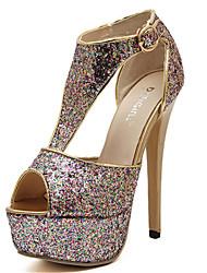Women's Shoes   Stiletto Heel Wedges/Peep Toe Sandals Casual Purple/White