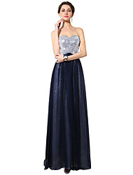 Formal Evening Dress - Dark Navy Plus Sizes / Petite A-line Sweetheart Floor-length Chiffon