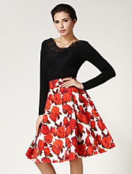 Women's Casual/Print Knee-length Skirts , Cotton/Spandex Micro-elastic Red