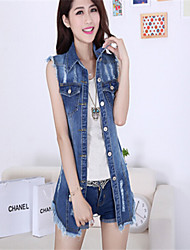 Women's Casual Denim Top , Sleeveless