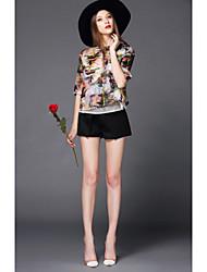 Set Aux femmes Fleur ½ Manches Bateau Polyester