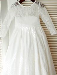 a-line длина пола платье девушки цветка - кружево атласное с длинными рукавами жемчужина шеи с лентой от thstylee