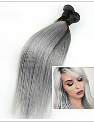 3pcs / lot billig brasilianische reine gerade ombre grau silber Haarverlängerungen 1b / grau mit zwei Tönen spinnendes Menschenhaar