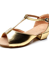 Non Customizable Women's/Kids' Dance Shoes Latin Flocking Chunky Heel Silver/Gold